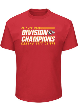 Majestic Kansas City Chiefs Mens Red 2017 Division Champions Tee