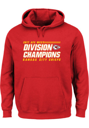 Majestic Kansas City Chiefs Mens Red 2017 Division Champions Hoodie