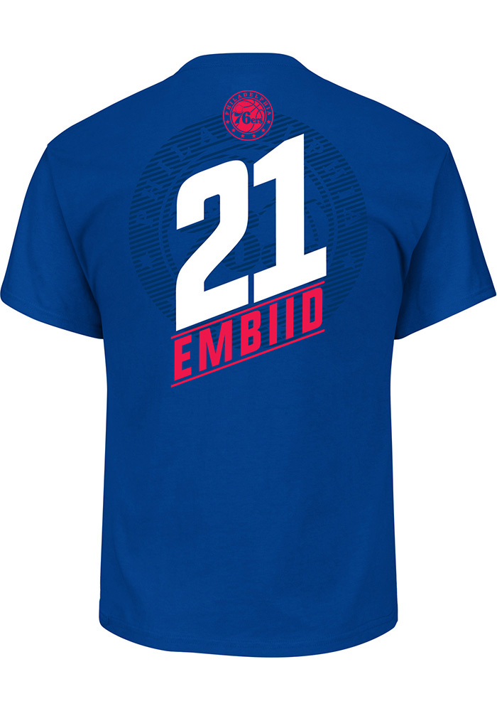Joel Embiid Philadelphia 76ers Mens Blue 21.0 Short Sleeve Player T Shirt - Image 1