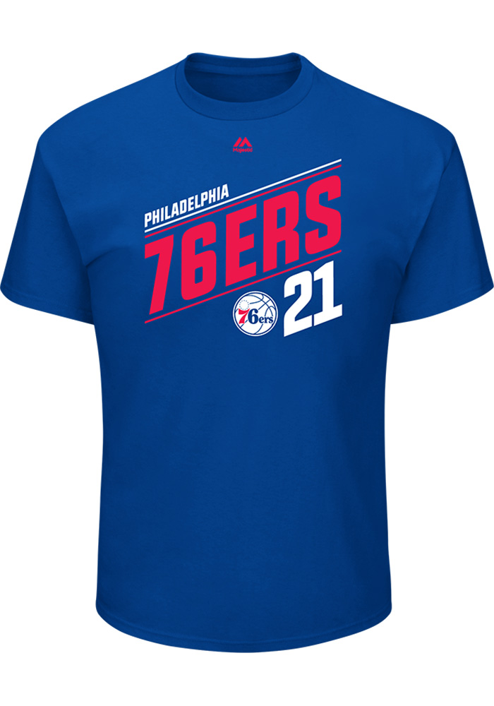 Joel Embiid Philadelphia 76ers Mens Blue 21.0 Short Sleeve Player T Shirt - Image 2