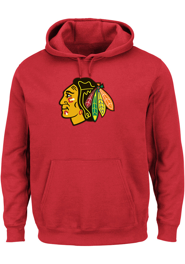 Majestic Chicago Blackhawks Mens Red Tek Patch Long Sleeve Hoodie - Image 1