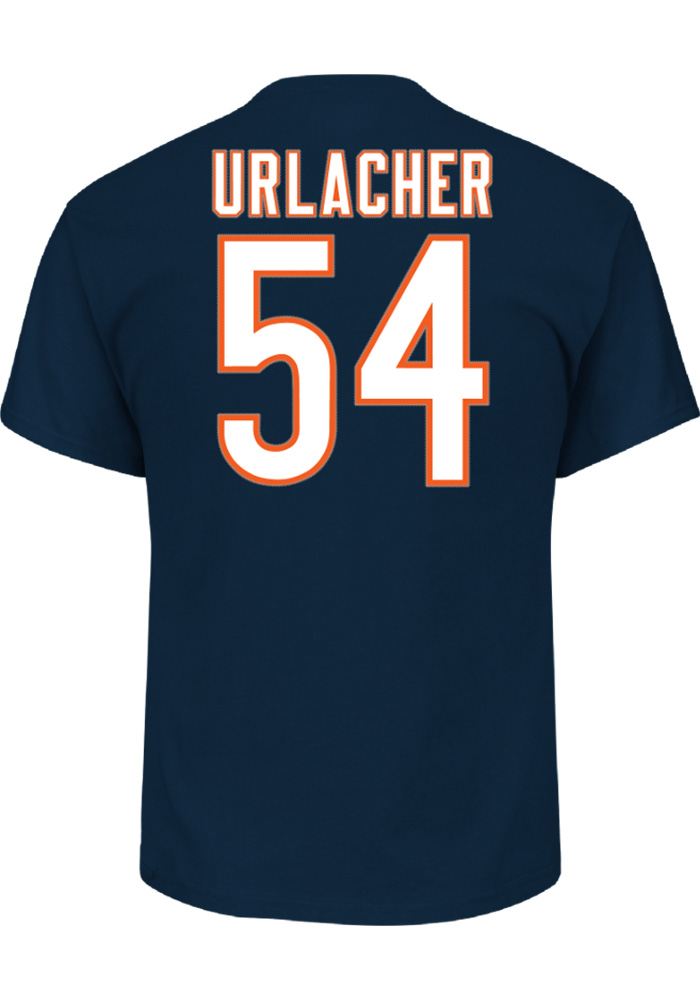 Brian Urlacher Chicago Bears Navy Blue Hall of Fame Short Sleeve Player T Shirt - Image 1