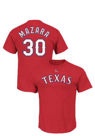 Nomar Mazara Texas Rangers Mens Red Name and Number Player Tee