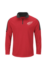 Detroit Red Wings Majestic Status Inquiry 1/4 Zip Pullover - Red