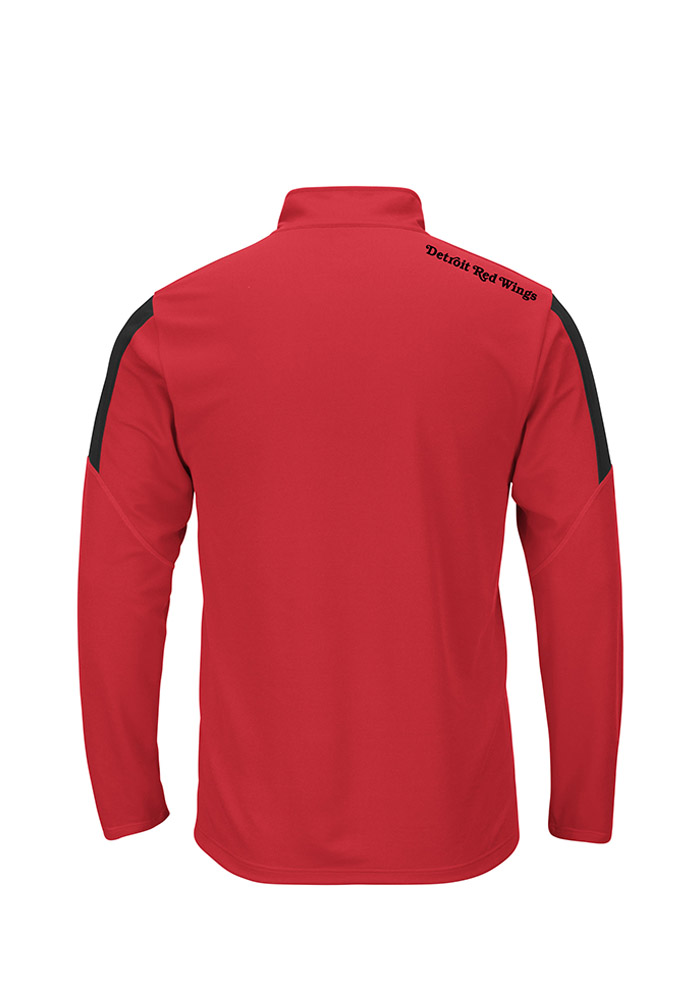 Majestic Detroit Red Wings Mens Red Status Inquiry Long Sleeve 1/4 Zip Pullover - Image 2