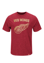 Majestic Detroit Red Wings Red Hours and Hours Short Sleeve Fashion T Shirt