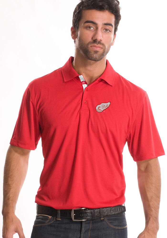 Detroit Red Wings Mens Red Helium Stripe Short Sleeve Polo - Image 1