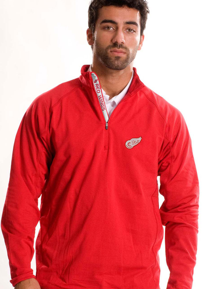 Detroit Red Wings Mens Red Metro Text Long Sleeve 1/4 Zip Pullover - Image 1