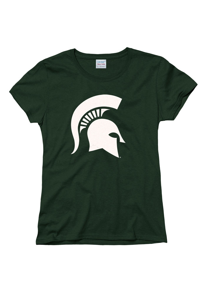 Michigan State Spartans Womens Green Glitzy Short Sleeve T-Shirt - Image 1