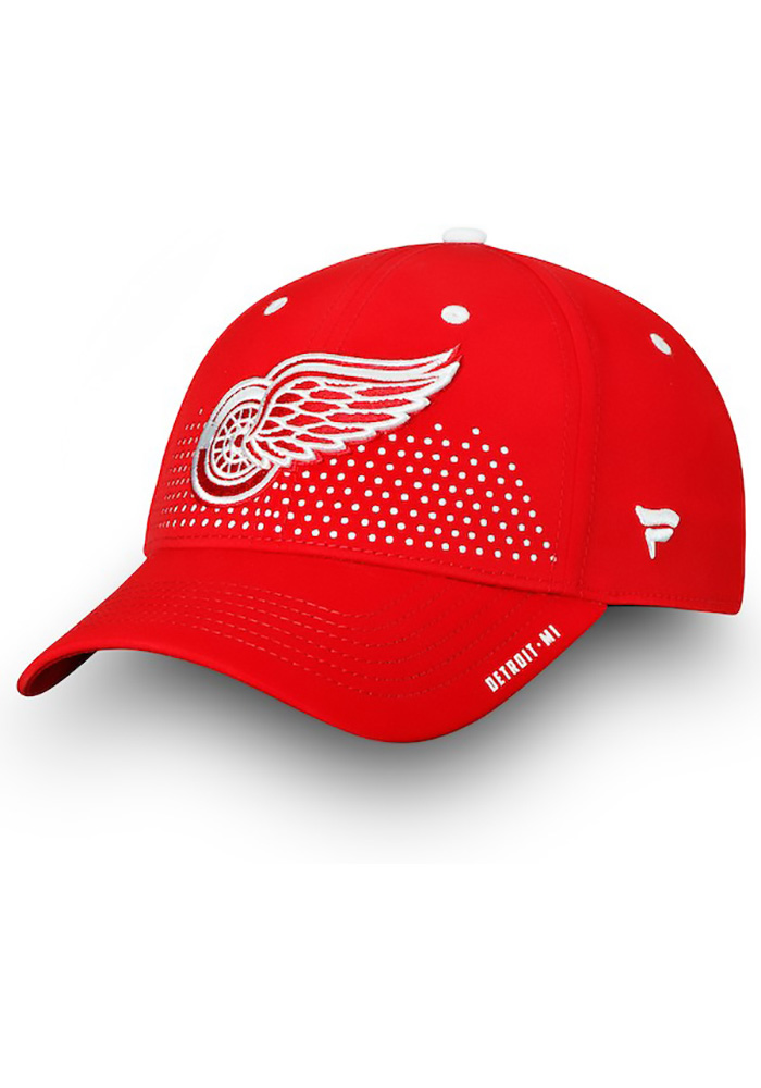 Detroit Red Wings Mens Red 2018 Authentic Pro Draft Flex Hat - Image 1