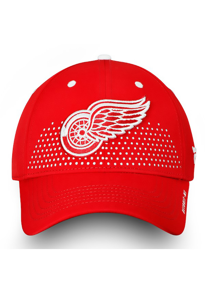 Detroit Red Wings Mens Red 2018 Authentic Pro Draft Flex Hat - Image 2