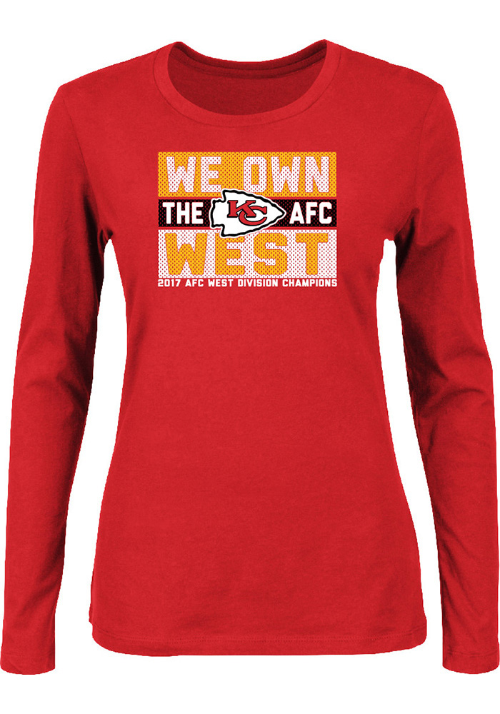 Kansas City Chiefs Womens Red 2017 Division Champions LS Tee, Red, 100% COTTON, Size XL