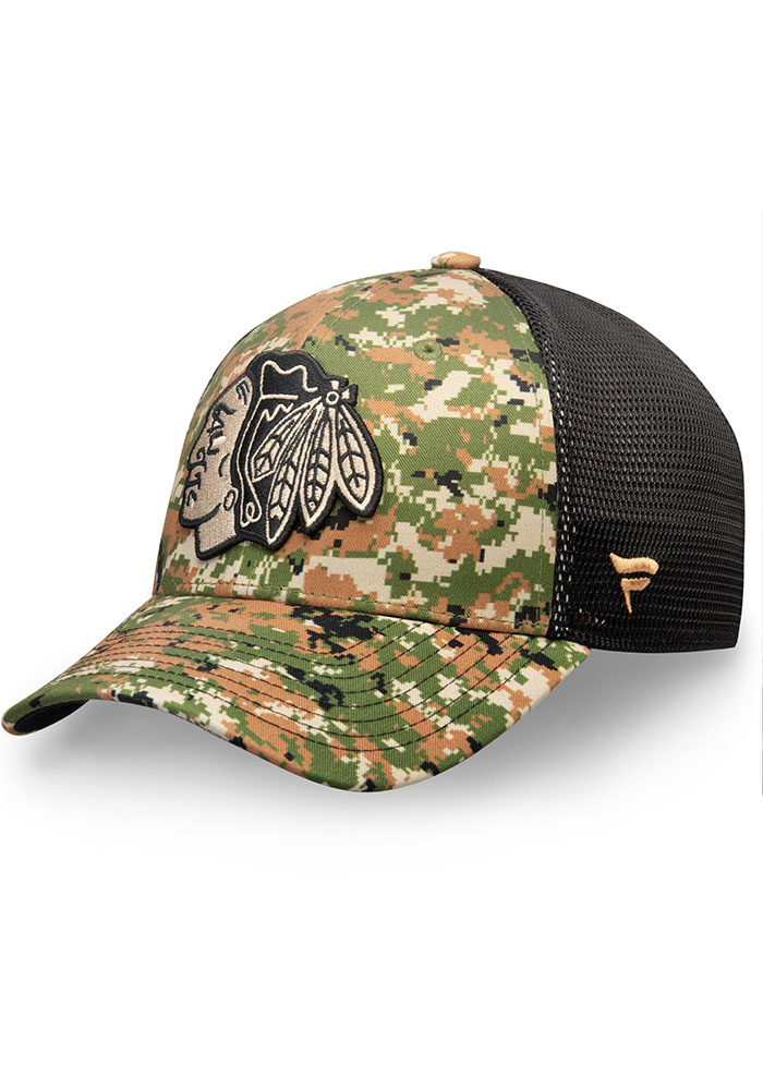 Chicago Blackhawks Mens Green Auth Pro Military Appreciation Speed Flex Flex Hat - Image 1