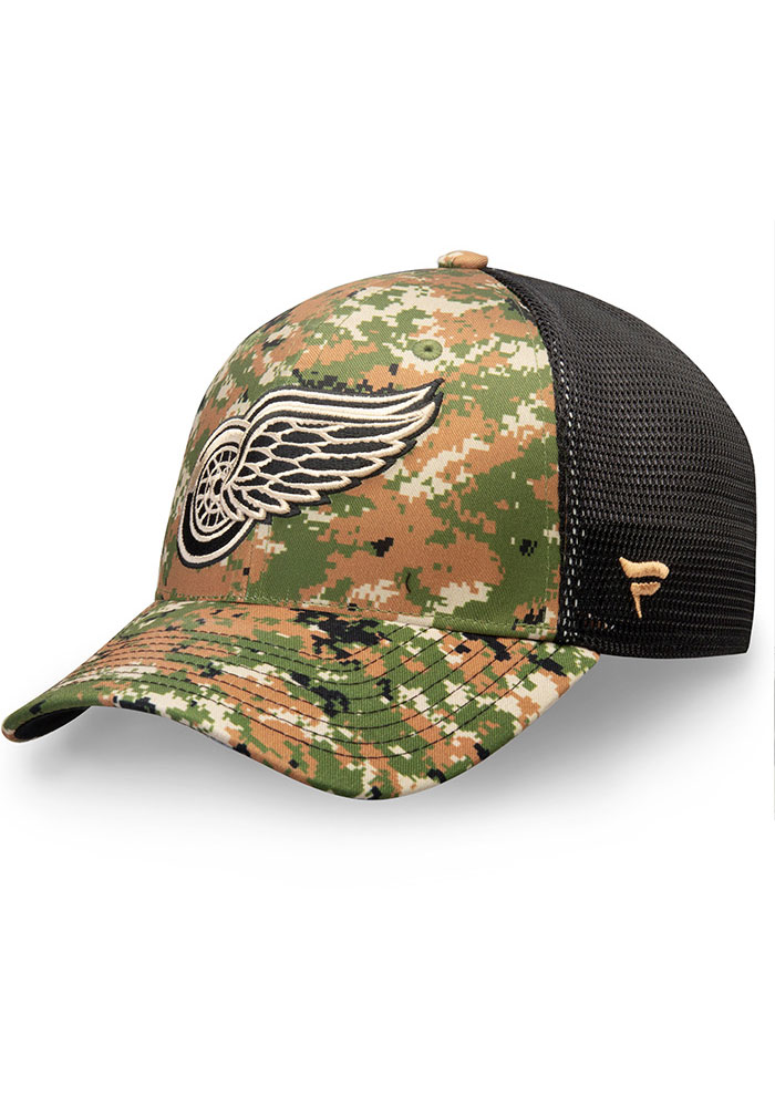 Detroit Red Wings Mens Green Auth Pro Military Appreciation Speed Flex Flex Hat - Image 1
