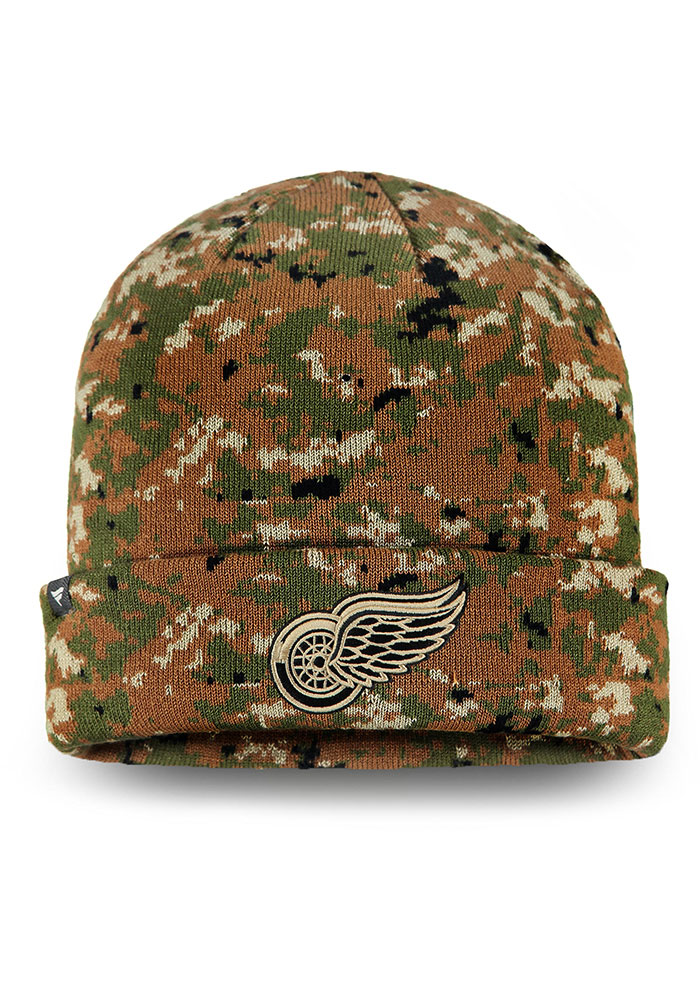 Detroit Red Wings Green Auth Pro Military Appreciation Cuffed Mens Knit Hat - Image 1