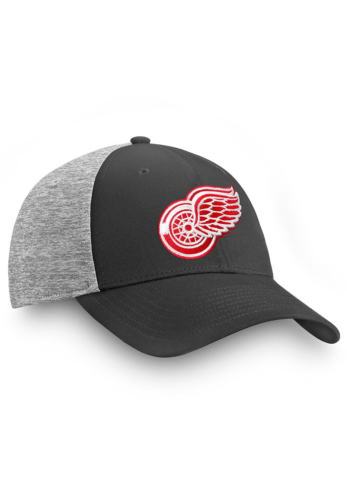 Detroit Red Wings Mens Black Heathered Back Structured Stretch Flex Hat - Image 2