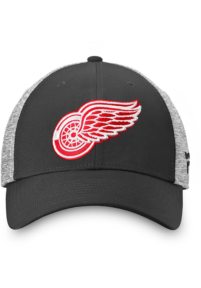Detroit Red Wings Mens Black Heathered Back Structured Stretch Flex Hat - Image 3