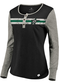 Dallas Stars Womens Retro Stripe Henley T-Shirt - Black
