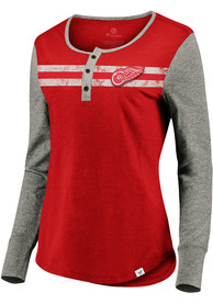Detroit Red Wings Womens Retro Stripe Henley T-Shirt - Red