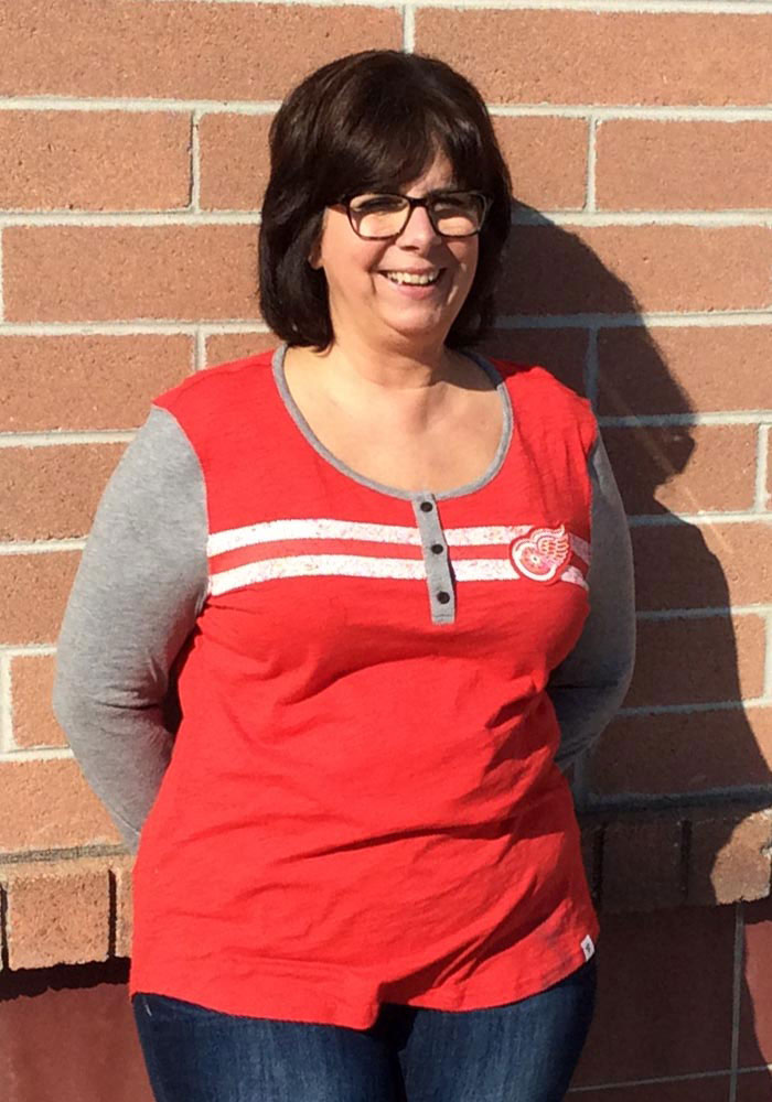 Detroit Red Wings Womens Red Retro Stripe Henley LS Tee - Image 2