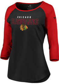 huge discount 3f2a5 b3489 Chicago Blackhawks Womens 3/4 Raglan Black LS Tee