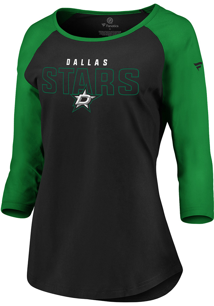 Dallas Stars Womens Black 3/4 Raglan LS Tee - Image 1