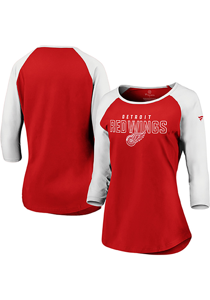 Detroit Red Wings Womens Red 3/4 Raglan LS Tee - Image 1