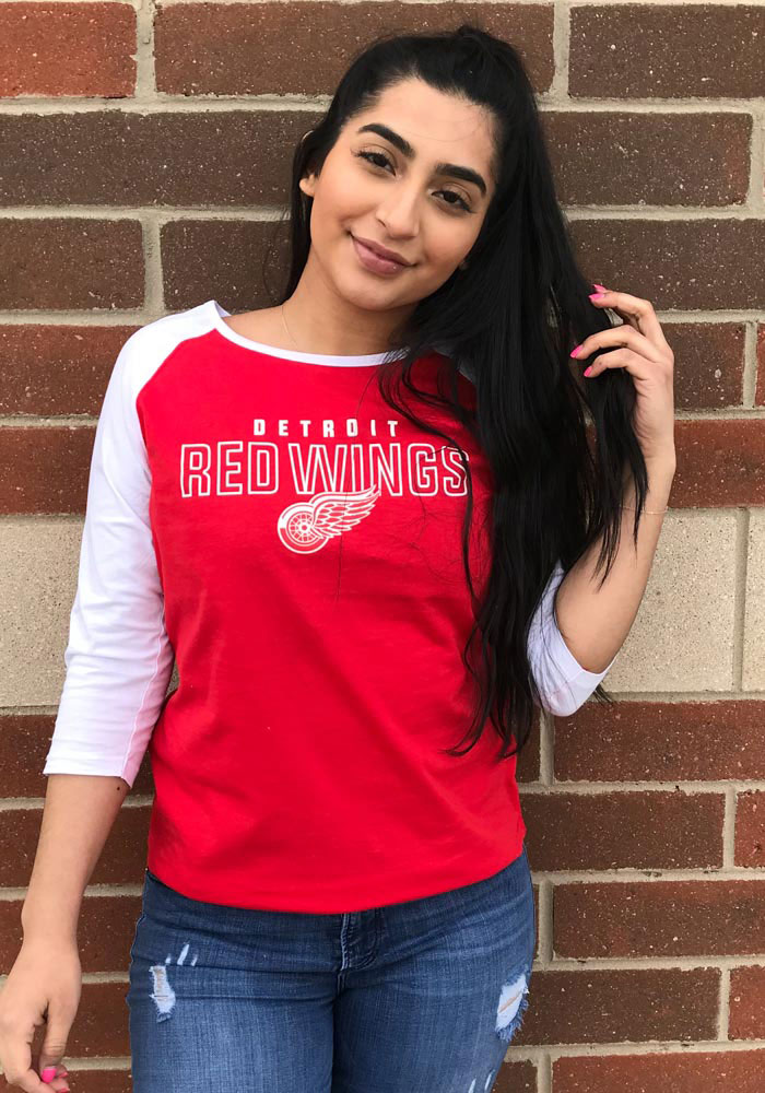 Detroit Red Wings Womens Red 3/4 Raglan LS Tee - Image 2
