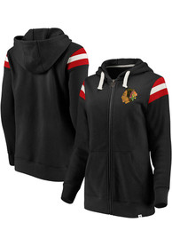 Chicago Blackhawks Womens Retro Stripe Fleece Full Zip Jacket - Black