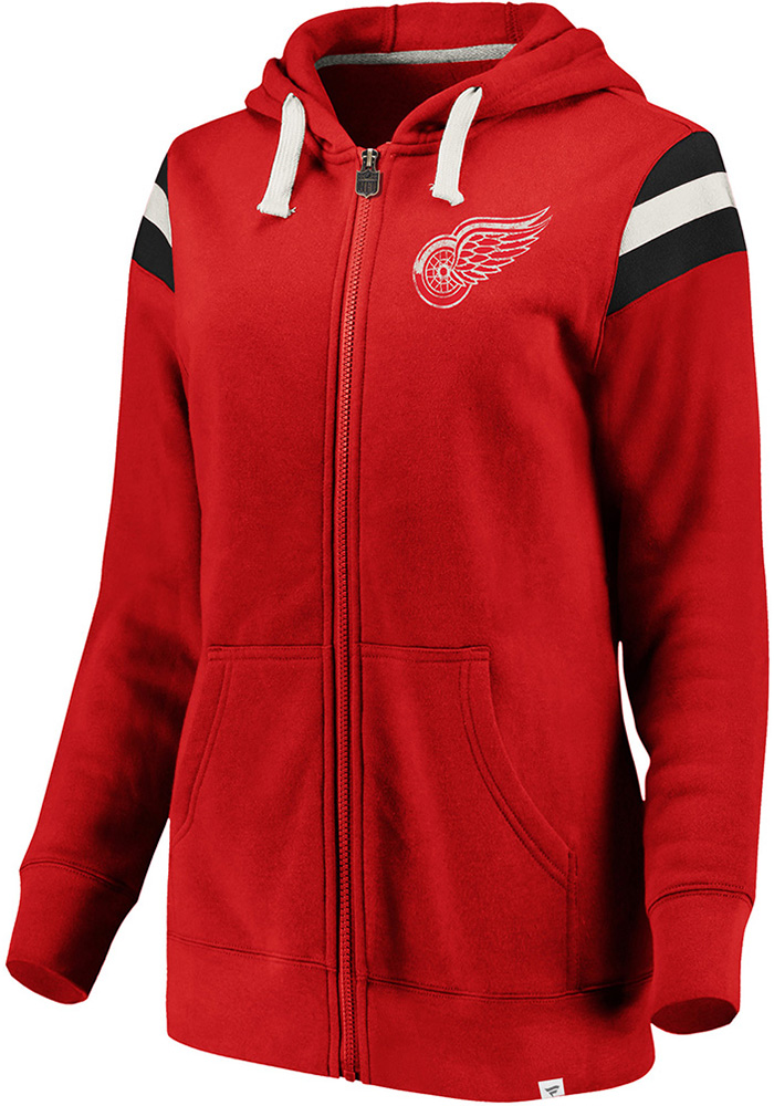 Detroit Red Wings Womens Red Retro Stripe Fleece Long Sleeve Full Zip Jacket - Image 1