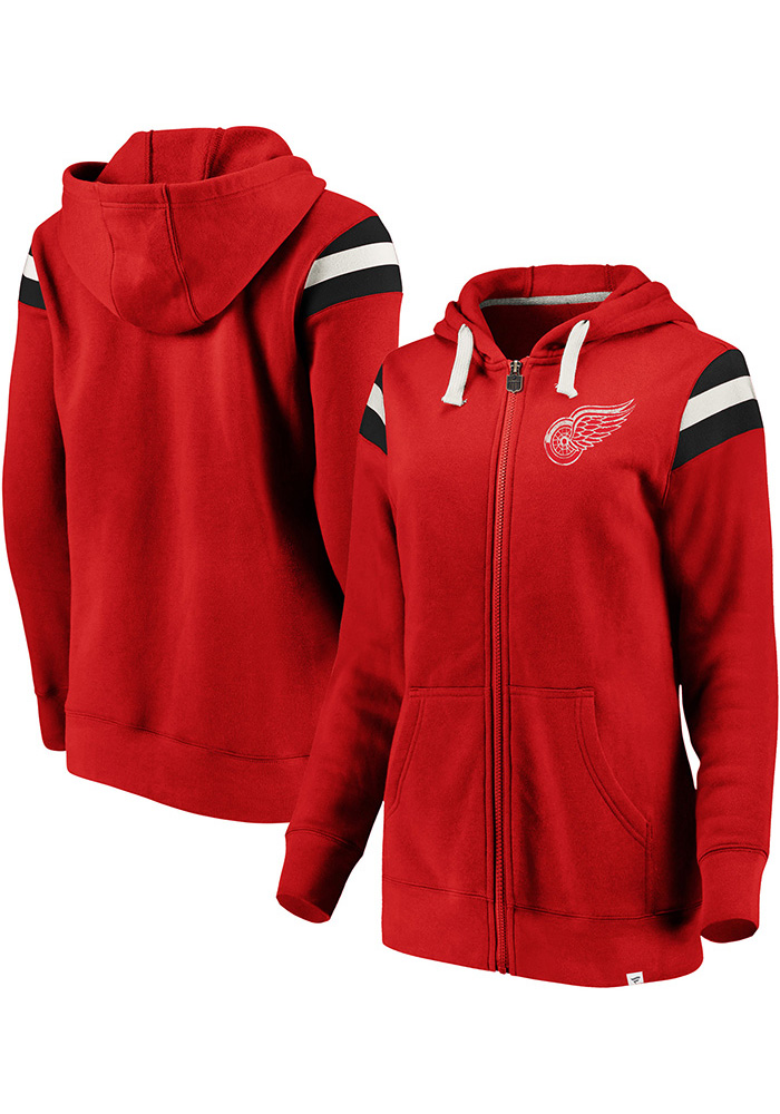 Detroit Red Wings Womens Red Retro Stripe Fleece Long Sleeve Full Zip Jacket - Image 3