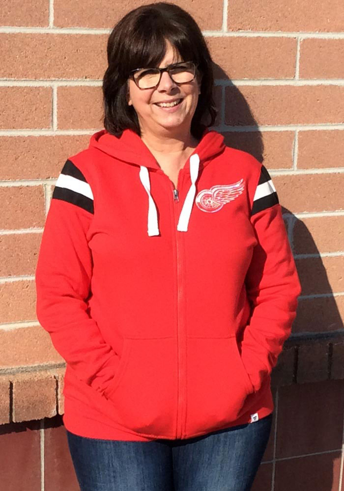 Detroit Red Wings Womens Red Retro Stripe Fleece Long Sleeve Full Zip Jacket - Image 4