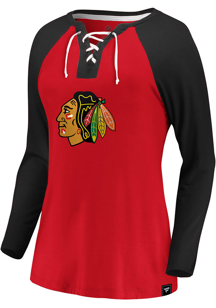 Chicago Blackhawks Womens Red Iconic Break Out Play LS Tee - Image 1