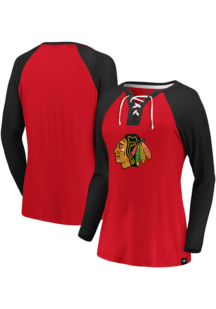 Chicago Blackhawks Womens Red Iconic Break Out Play LS Tee - Image 3
