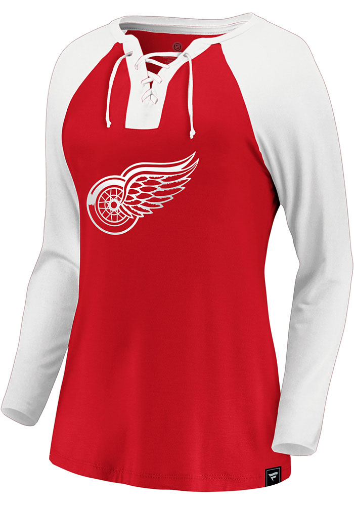 Detroit Red Wings Womens Red Iconic Break Out Play LS Tee - Image 1