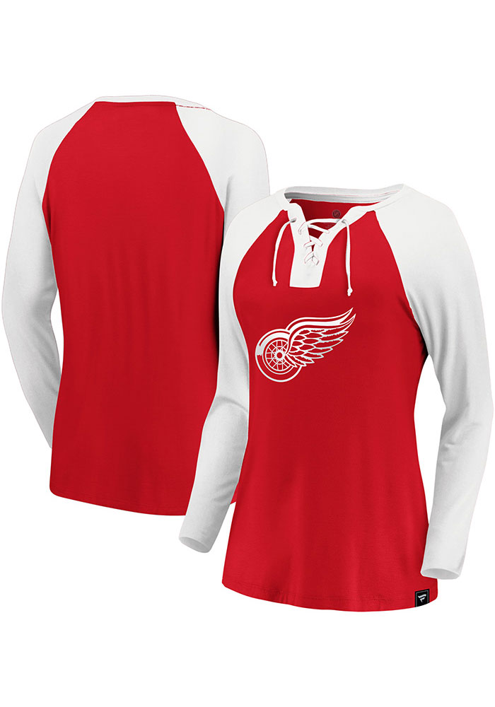Detroit Red Wings Womens Red Iconic Break Out Play LS Tee - Image 3