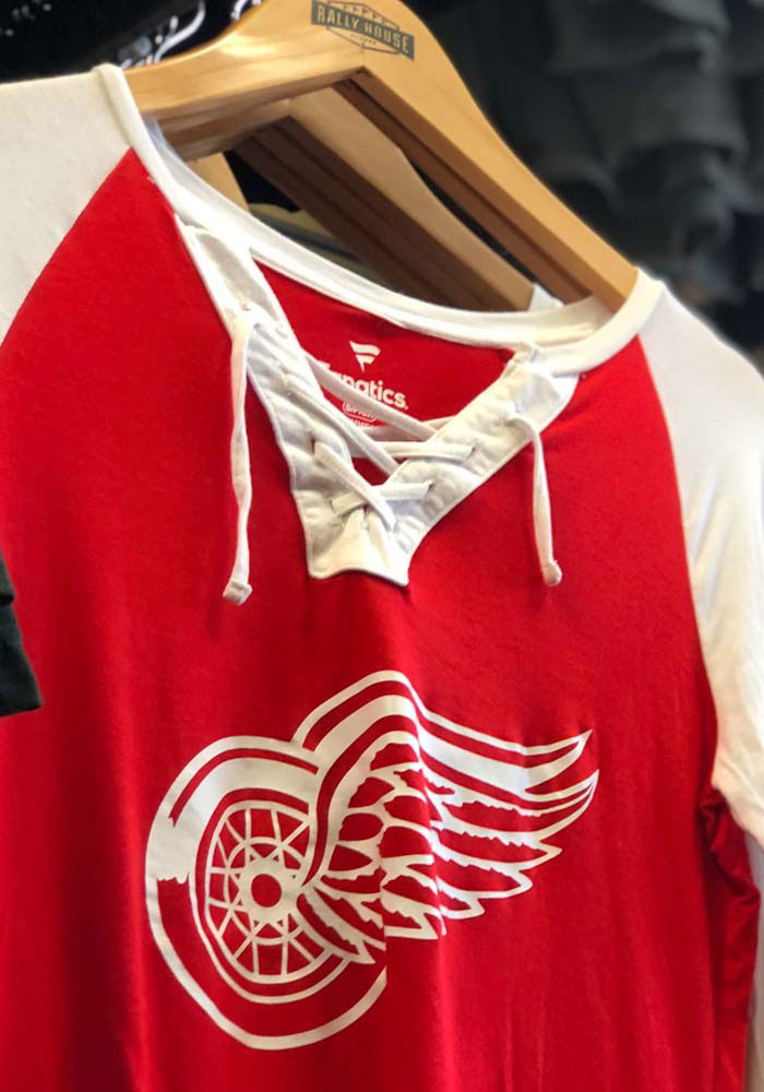 Detroit Red Wings Womens Red Iconic Break Out Play LS Tee - Image 4