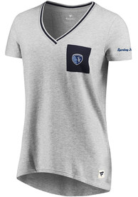 Sporting Kansas City Womens Pocket T-Shirt - Grey