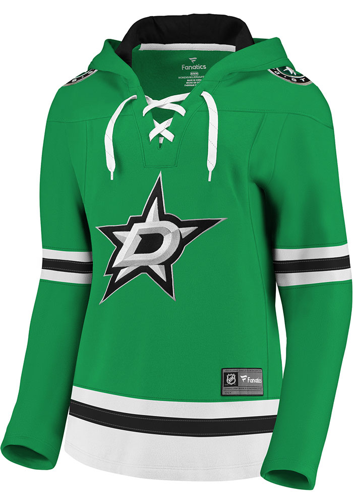 Dallas Stars Womens Green Lace Up Hooded Sweatshirt - Image 1