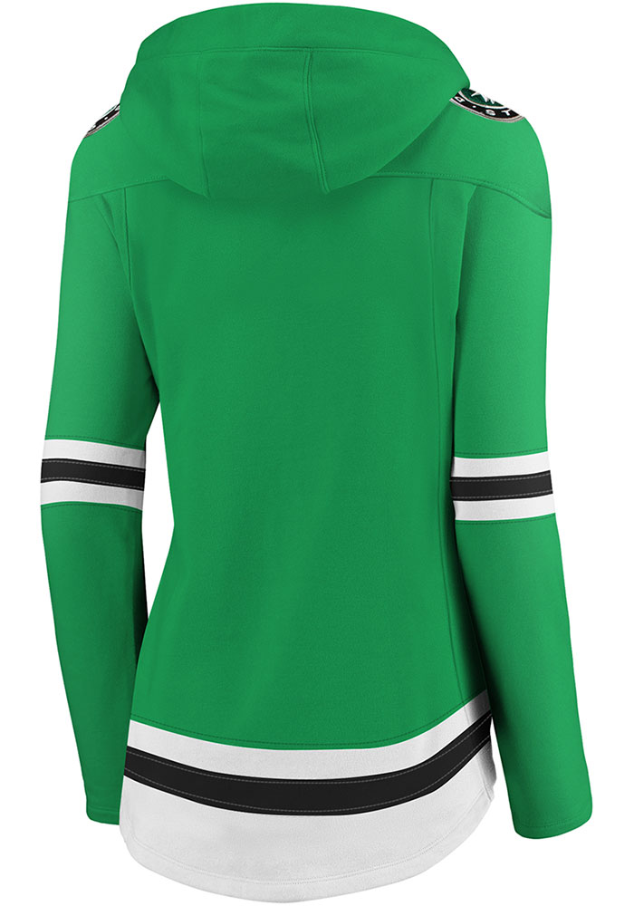 Dallas Stars Womens Green Lace Up Hooded Sweatshirt - Image 2