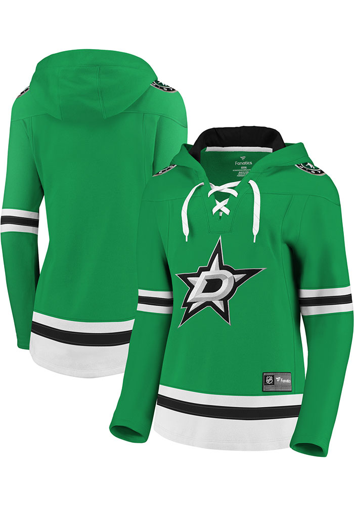 Dallas Stars Womens Green Lace Up Hooded Sweatshirt - Image 3
