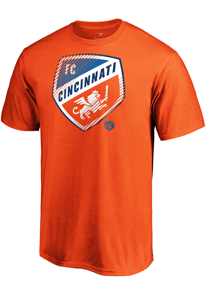 FC Cincinnati Orange Slash and Dash Short Sleeve T Shirt - Image 1