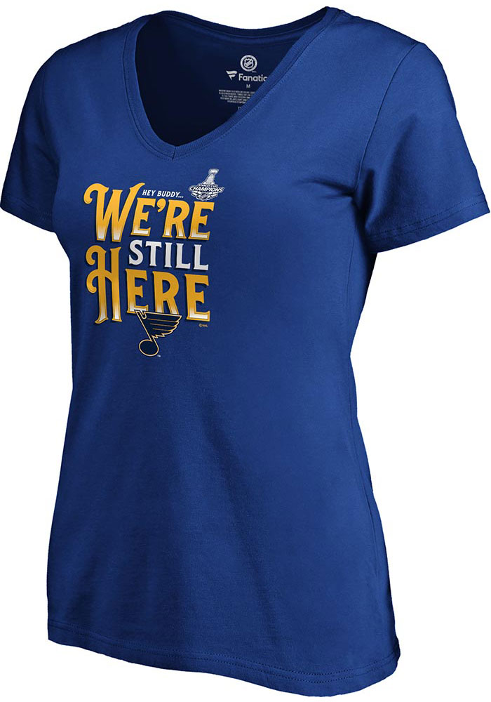 St Louis Blues Womens Blue 2019 Stanley Cup Champions Short Sleeve T-Shirt - Image 1