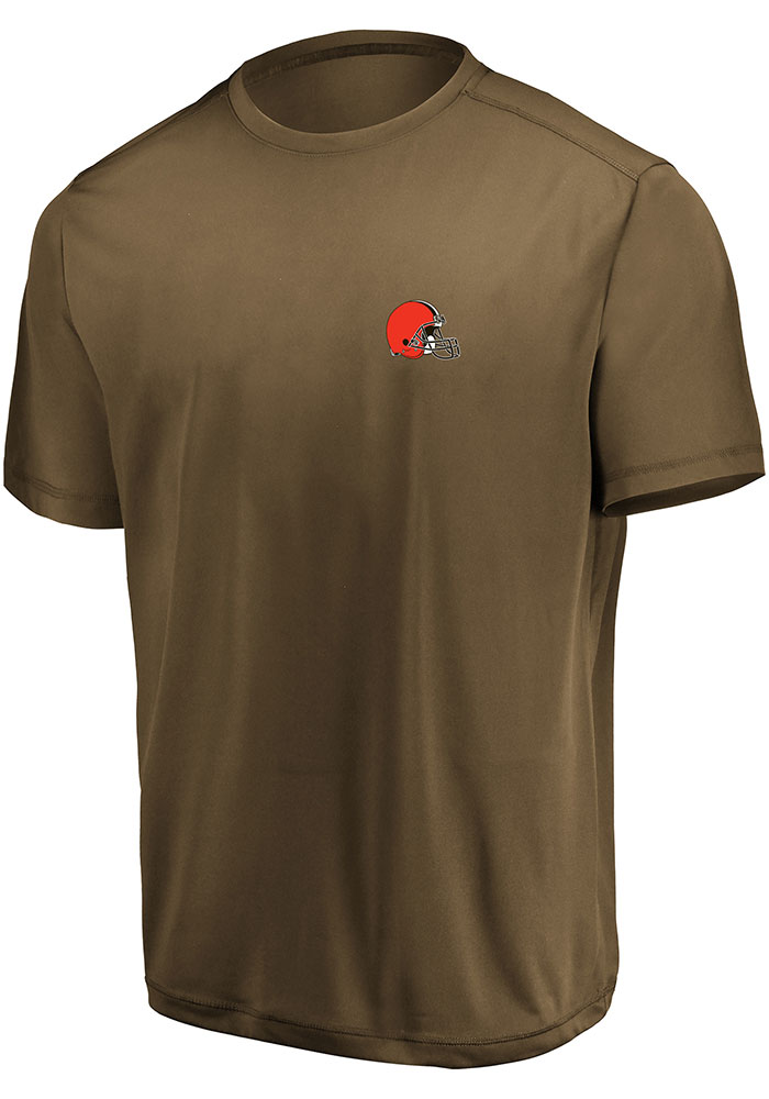 Cleveland Browns Brown Micro Logo Short Sleeve T Shirt - Image 1
