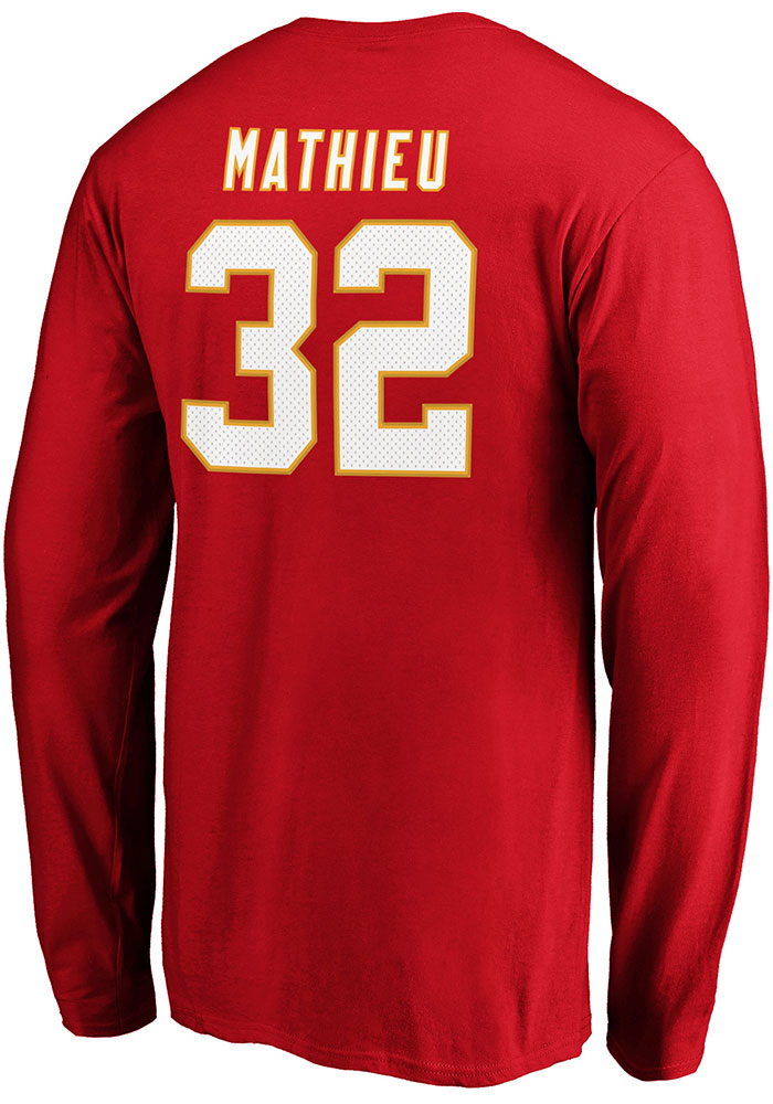 Tyrann Mathieu Kansas City Chiefs Red Authentic Stack Long Sleeve Player T Shirt - Image 1