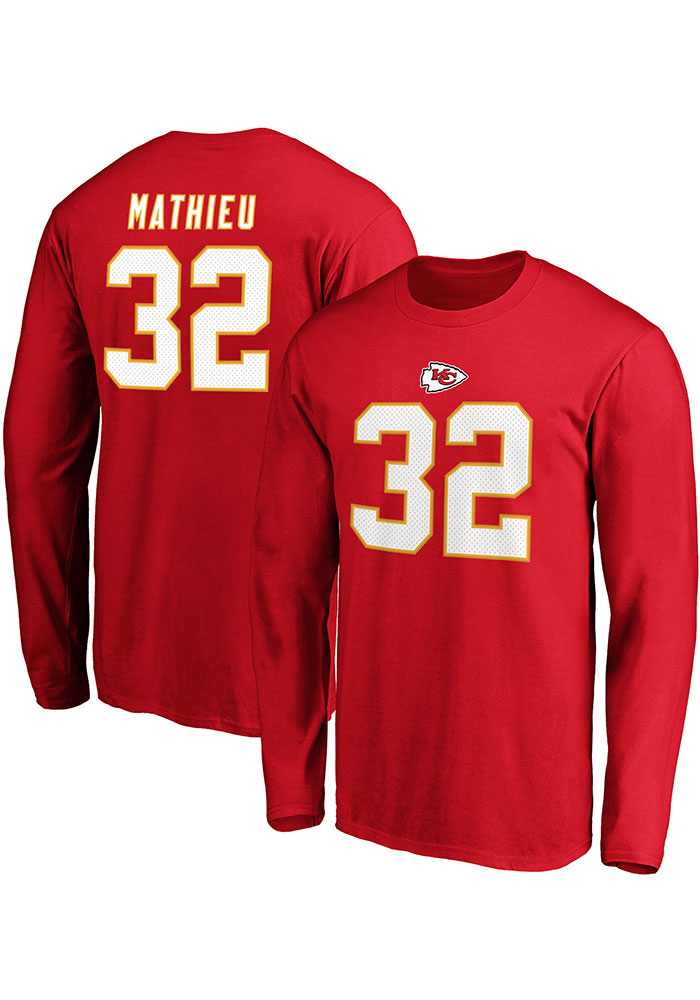 Tyrann Mathieu Kansas City Chiefs Red Authentic Stack Long Sleeve Player T Shirt - Image 3