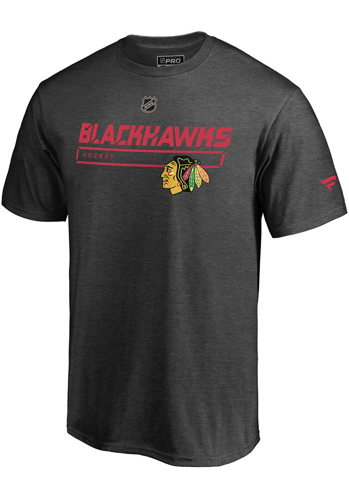 Chicago Blackhawks Charcoal Pro Prime Short Sleeve T Shirt - Image 1