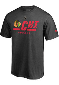 Chicago Blackhawks Pro Tricode T Shirt - Charcoal