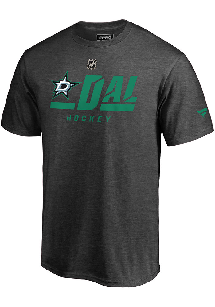 Dallas Stars Charcoal Pro Tricode Short Sleeve T Shirt - Image 1