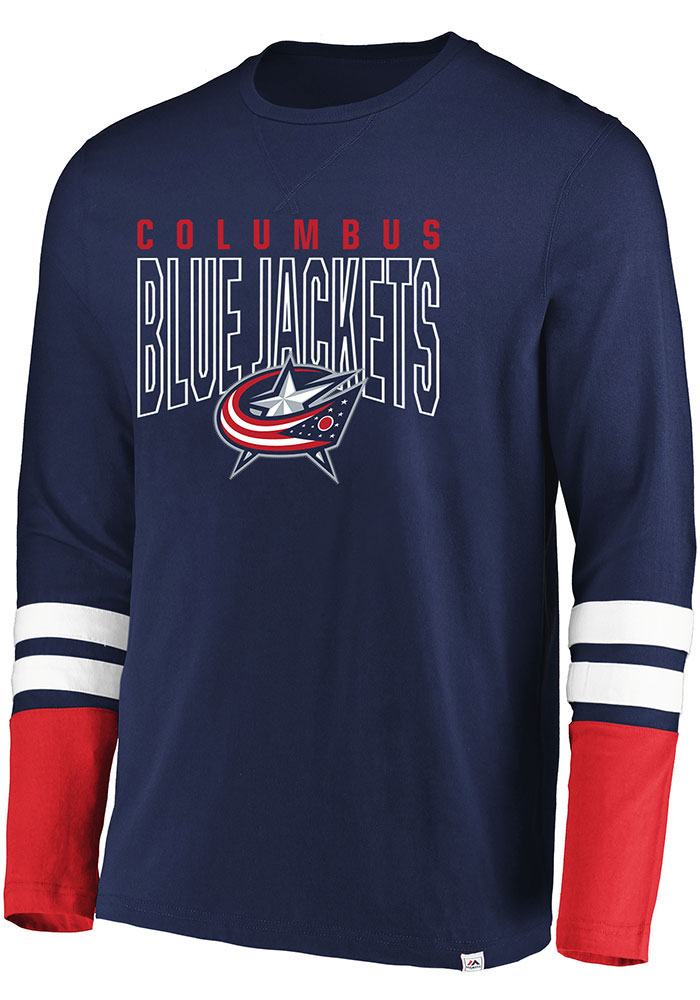 Columbus Blue Jackets Navy Blue 5 Minute Major Long Sleeve Fashion T Shirt - Image 1